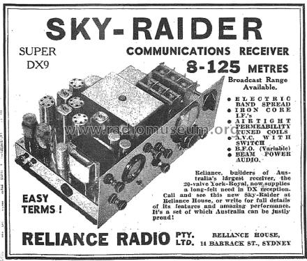 Sky-Raider DX9 ; Reliance Radio. (ID = 2416718) Commercial Re