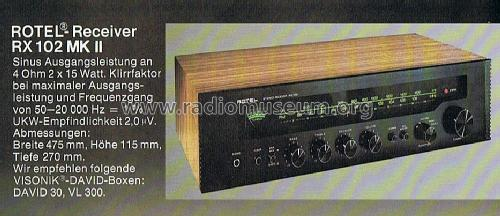 Stereo Receiver RX-102MKII; Rotel, The, Co., Ltd (ID = 587550) Radio
