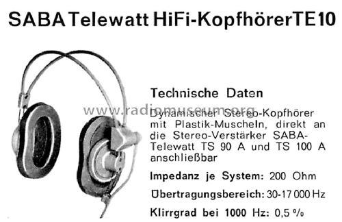 Dynamischer Hi-Fi Kopfhörer Telewatt TE-10 Speaker-P SABA