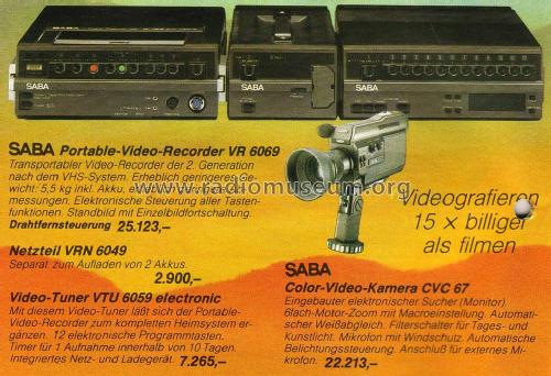 Ultracolor Video-Recorder PVR 6069 portable R-Player SABA