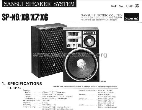 5 way 7 speaker system sp x9 speaker p sansui electric co rh radiomuseum org