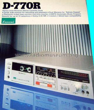 Auto Reverse Cassette Deck D-770R; Sansui Electric Co., (ID = 1752918) R-Player