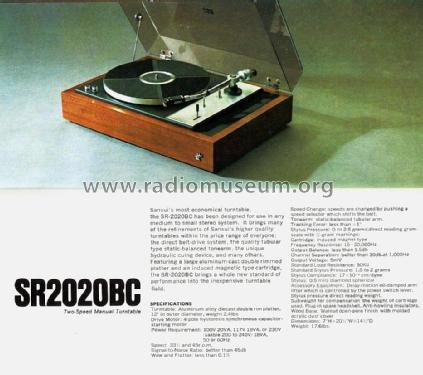 Two-Speed Manual Turntable SR-2020BC; Sansui Electric Co., (ID = 1737958) R-Player