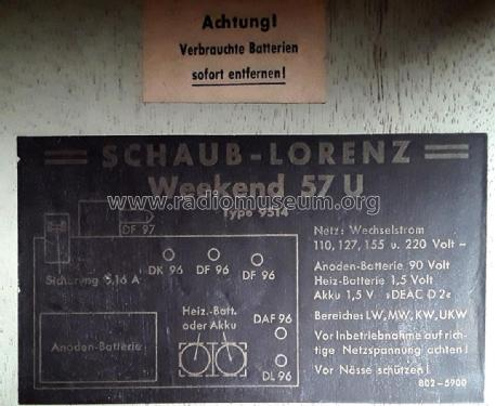 Weekend 57U Type 9514; Schaub und Schaub- (ID = 2355527) Radio
