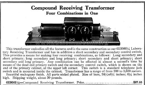 Compound Receiving Transformer ; Sears, Roebuck & Co. (ID = 978435) mod-pre26
