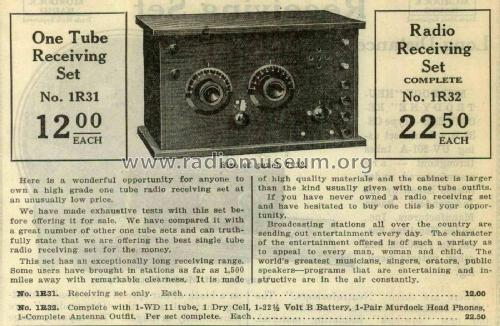 One Tube Radio Receiver No. 1R31; Shure; Chicago, (ID = 2096354) Radio