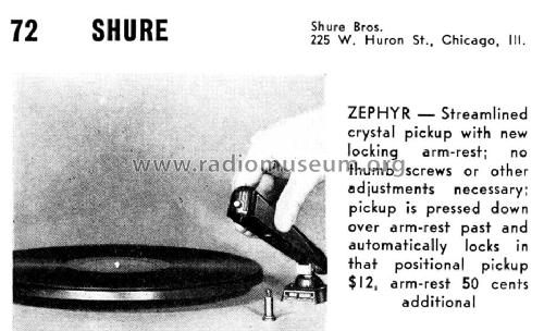 Zephyr ; Shure; Chicago, (ID = 1077787) Microphone/PU