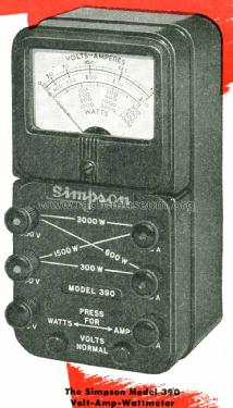 Volt-Amp-Wattmeter 390; Simpson Electric Co. (ID = 1193510) Equipment