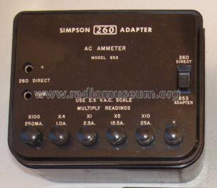 AC Ammeter 260 Adapter 653; Simpson Electric Co. (ID = 1269653) Equipment