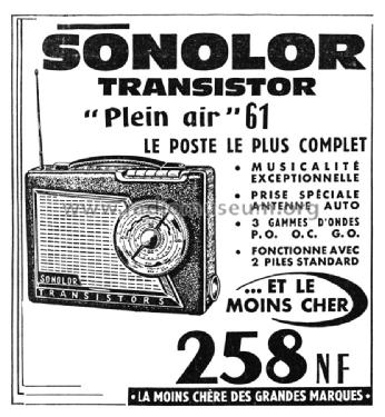plein air 61 radio sonolor paris build 1960 1961 1 pictur. Black Bedroom Furniture Sets. Home Design Ideas