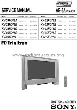 trinitron color tv kv 32fq75d ch television sony corporatio rh radiomuseum org Sony TV Service Manuals Sony Wega TV Manual
