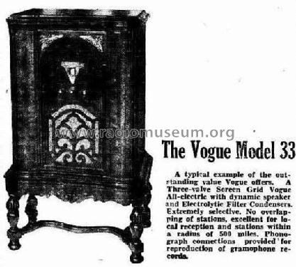 Vogue 33 ; Targan Electric Co. (ID = 2105394) Radio