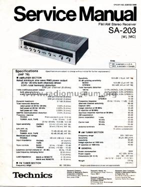 FM/AM Stereo Receiver SA-203 Radio Technics brand, build
