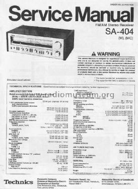 FM/AM Stereo Receiver SA-404 Radio Technics brand, build