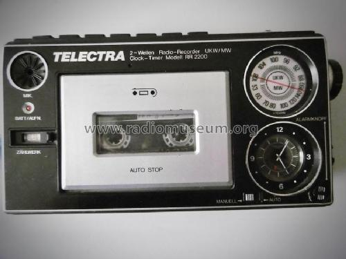 2-Wellen Radio UKW/MW Recorder- Clock- Timer RR 2200; Telectra; where? (ID = 2285218) Radio