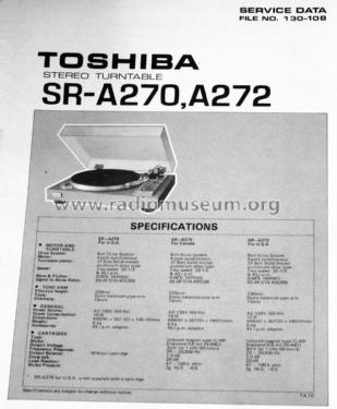 Belt Drive Turntable SR-A272; Toshiba Corporation; (ID = 1674967) R-Player