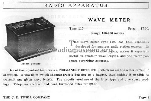 Wave Meter Type 110; Tuska Co., C. D.; (ID = 2378182) Equipment