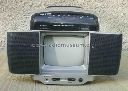 Brown 6' Black & White TV/AV With Radio and With Sliding Speaker BR-2201E; Unknown Worldwide (ID = 1767209) TV Radio