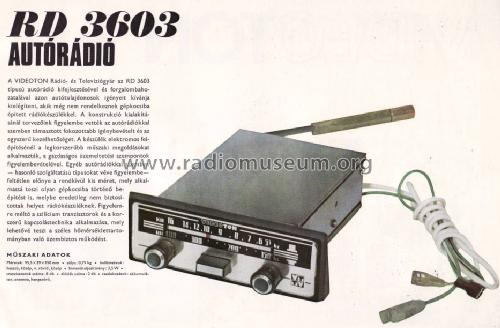 Car radio RD-3603; Videoton; (ID = 709738) Car Radio