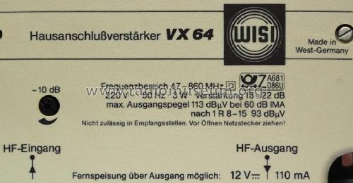 Hausanschlußverstärker VX 64 RF-Ampl. Wisi Wilh. Sihn;