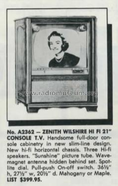 A2362R Ch= 19A20; Zenith Radio Corp.; (ID = 2469453) Television