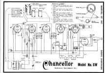 6W Chancellor Radio Radionic Equipment Co.; New York 7, N.Y. on bob beck schematics, machine schematics, simple radio schematics, pink noise generator schematics, hidden blade schematics, circuit board schematics, magnetic generator schematics, ufo schematics,
