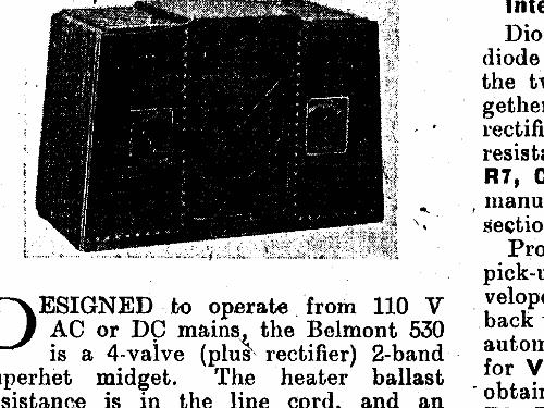 530 Radio Belmont, London, build 1938 ??, 2 schematics, 5 tu
