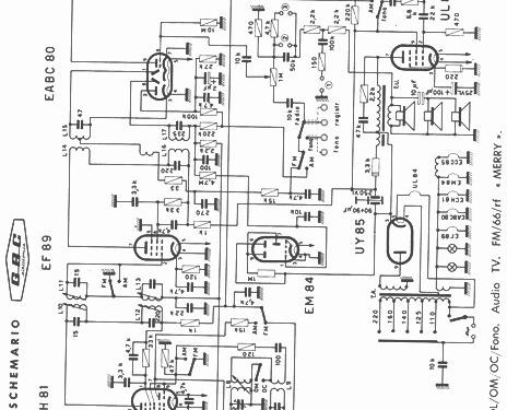Merry FM66-RF Radio GBC; Milano, build 1964, 1 schematics, 7 on