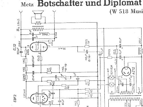 Diplomat Ms W67 Mit Ebf2 Radio Metz Transformatoren Und
