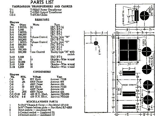8 watt amplifier ampl  mixer thordarson electric mfg  co    c