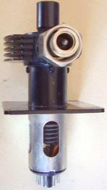 View from the side of the coaxial output connector.