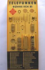 einzelne Teile der Röhre ECH81 mit entsprechender Bezeichnung aus Telefunken - Fertigung in einem Acrylglas - Block