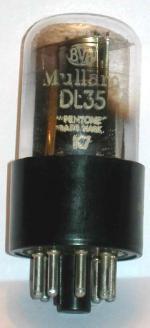 An original Mullard DL35 valve from my 1946 PYE L75B radio.
