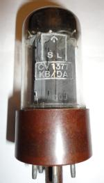 Also labelled Mullard GZ34 British Made. DA code shows manufacture at Mullard Blackburn. Etching on glass can just be seen BOJ which confirms this. Brown bakelite base.