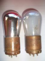 Tube at left made at Harrison N.J factory. Tube at right made at Cleveland Ohio factory, both c. early 1924.