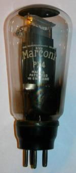 A 1930s Marconi brand PX4 valve. If inspected closely its original marking under the label on top can just be seen, and this PX4 is a rebadged Mazda PP3/250. This valve is in good condition and is still in use in an RGD 1050C console radio.