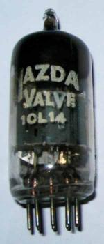 A British Mazda 10L14 valve as fitted to late 1950s Murphy AM/FM radios