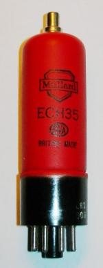 A new old stock Mullard ECH35 valve in a later shaped red glass envelope.
