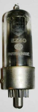 An unusual Mullard EZ40 valve, probably a UU9 valve made by Mazda which Mullard have put their own brand label on.