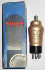 A British made Mullard TDD4 valve with its box.