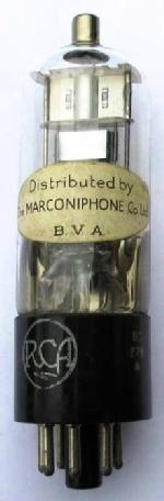 An RCA 1H5G valve with a Marconi UK distribution label