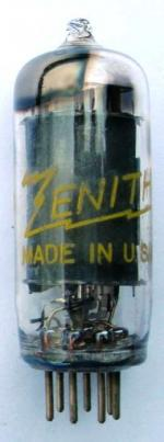 A US made Zenith 12BD6 valve which has printed on it 'Replace only with a genuine Zenith tube 2801-04'.